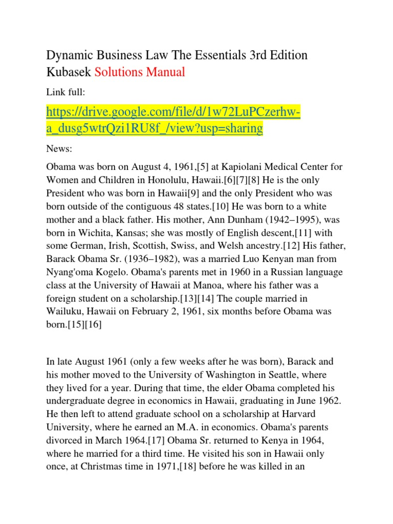 Dynamic Business Law The Essentials 3rd Edition Kubasek Solutions Manual |  Barack Obama | Obama Family