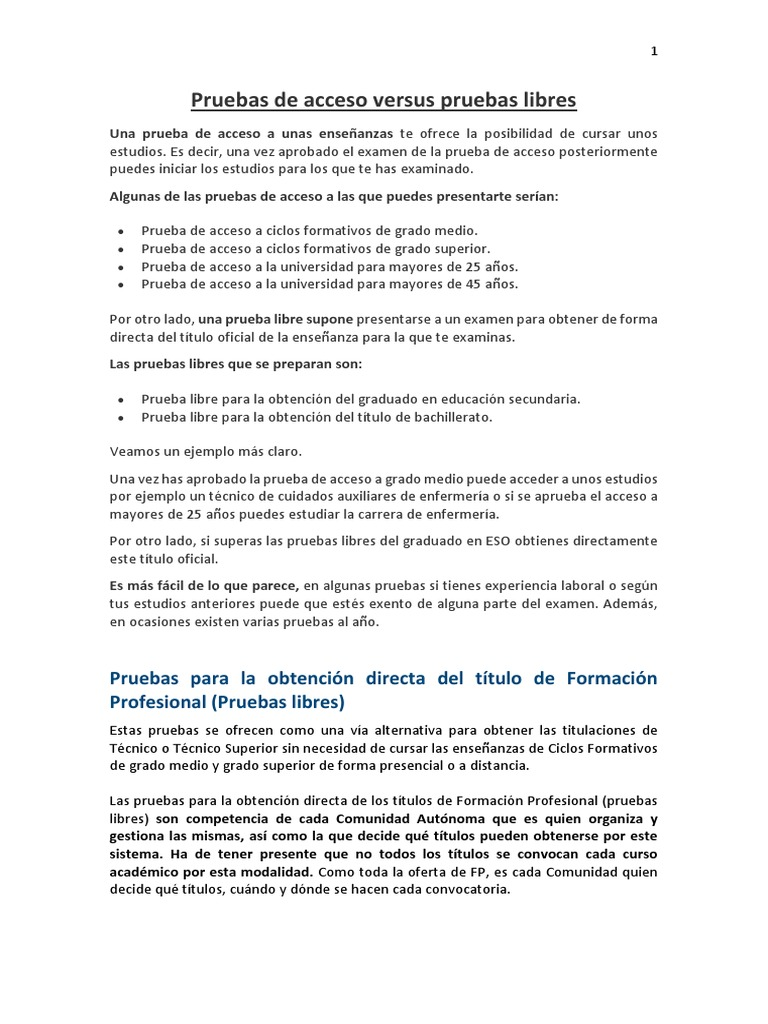 Pruebas De Acceso Versus Libres Docx Educación Secundaria