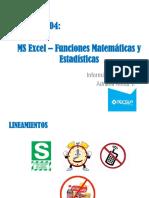 04 Excel 2013 - Funciones Matemáticas y Estadísticas