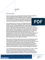 Facebook letter to Sen. Ron Wyden regarding partner monitoring