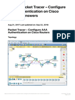 3.6.1.2 Packet Tracer - Configure AAA Authentication on Cisco Routers Answers