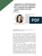A Mediação Na Administração Pública e Os Novos Caminhos Para a Solução de Problemas e Controvérsias No Setor Público