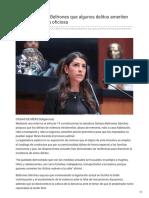 09/Noviembre/2018 Propone Sylvana Beltrones que algunos delitos ameriten prisión preventiva oficiosa.