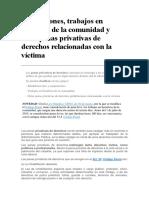 Suspensiones, Trabajos en Beneficio de La Comunidad y Otras Penas Privativas de Derechos Relacionadas Con La Víctima España