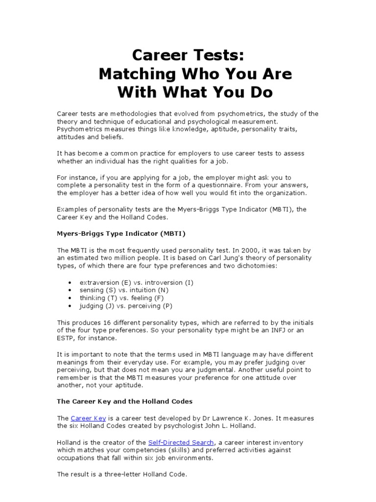 Career Tests | Personality Type | Psychological Testing  Career Tests
