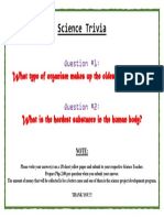 Science Trivia (for September 2018) Questions for Posting