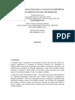 ESTUDO DE METODOLOGIAS PARA AVALIAÇÃO DA EFICIÊNCIA DE DEPARTAMENTOS DE UMA UNIVERSIDADE
