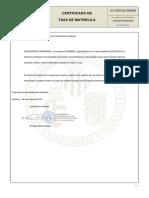 Certificado de Pagamento de Taxa de Matrícula