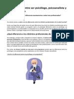 La Diferencia Entre Ser Psicólogo y Psicoterapeuta