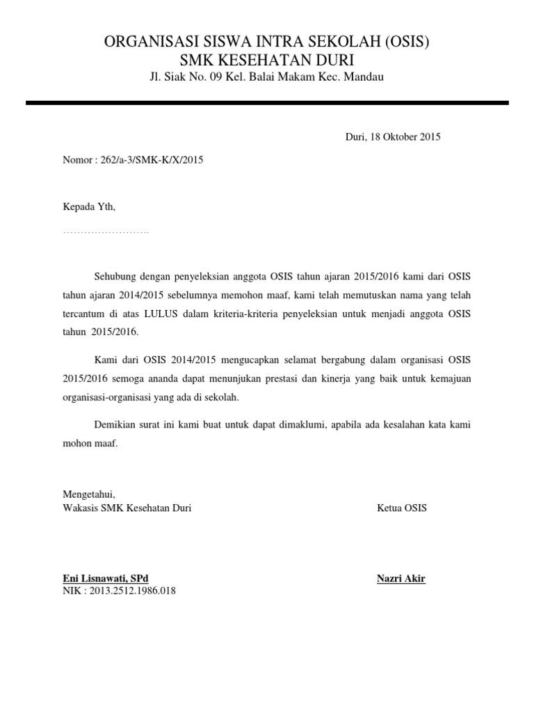 Surat Tidak Lulus Seleksi Osis