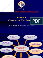 Lecture 9- Construction Cost Estimates