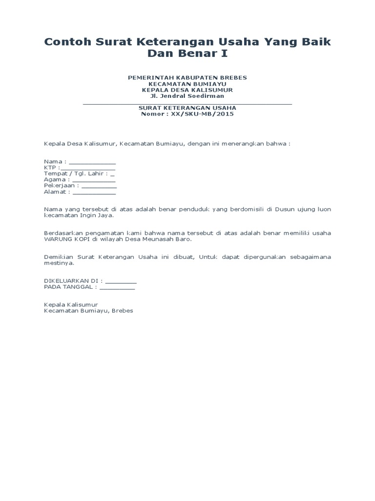 Contoh Surat Keterangan Dari Kepala Desa