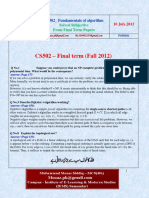 CS502 Fundamentals of Algorithms 2013 Final Term Questions Answers Solved With References by Moaaz