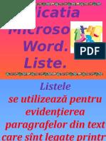Aplicatia MicrosoftWord Liste
