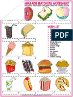 Fast Food Vocabulary Esl Matching Exercise Worksheet for Kids