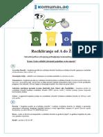 Recikliranje Od a Do Ž