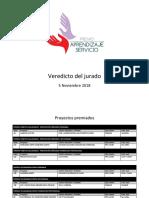 Premio Aprendizaje y Servicio / Veredicto del jurado