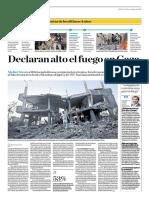 Declaran El Alto Al Fuego en Gaza