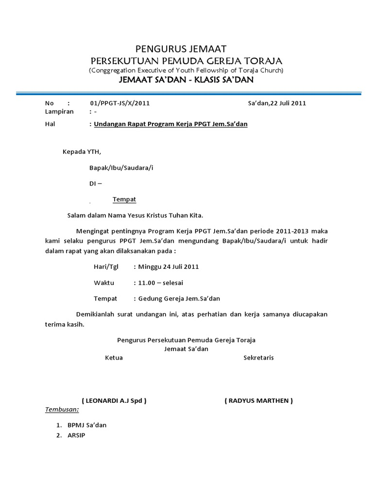 Contoh Undangan Rapat Rt Guru Paud