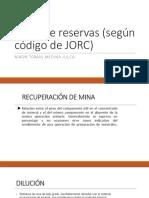 tipos de reservas de JORC