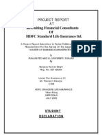 Hdfc Standard Life Insurance Project Report Sanjeev Singh