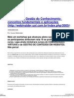 6833996 Web Insider Introducao a Gestao Do Conhecimento Conceitos Fundamentais e Aplicacoes