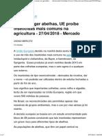 Para Proteger Abelhas, UE Proíbe Inseticidas Mais Comuns Na Agricultura - 27-04-2018 - Mercado