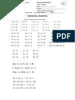 Evaluación de Matemáticas Ecuaciones
