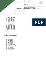 Evaluación de Matemáticas  Porcentaje