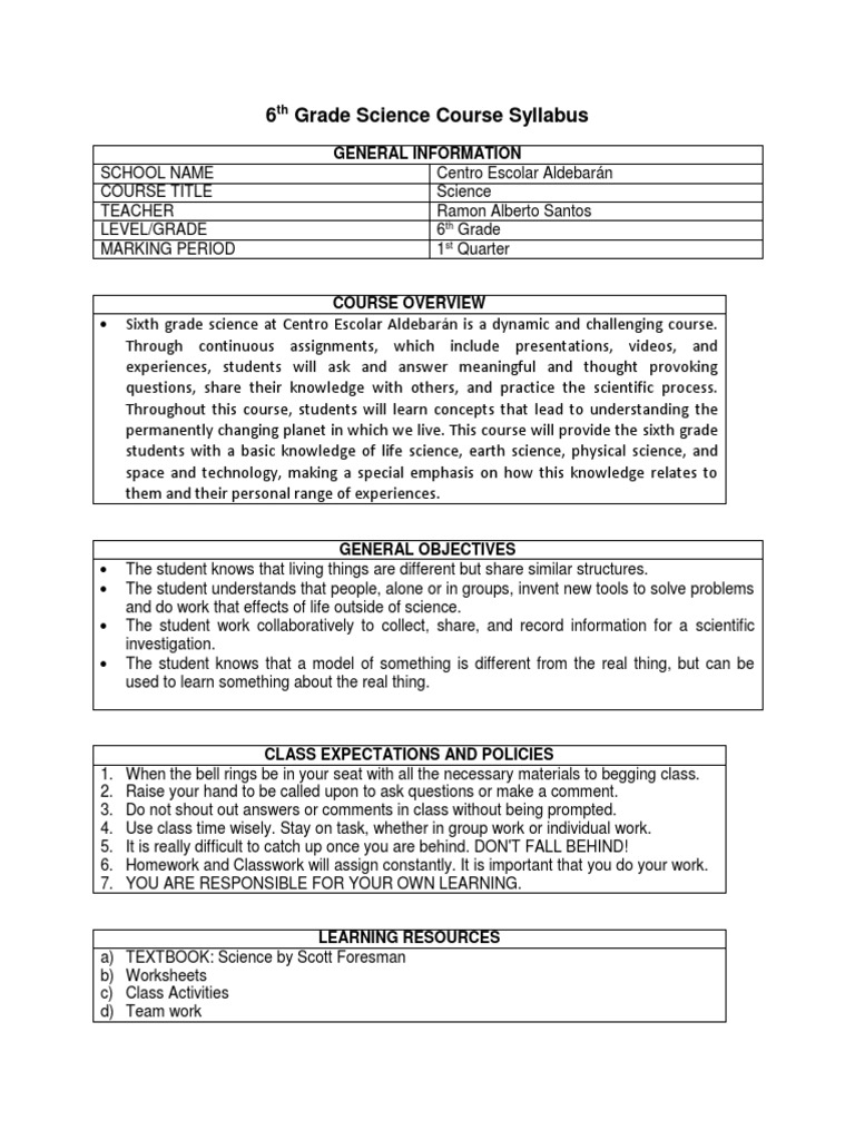 6th Grade Science Course Syllabus | Homework | Science