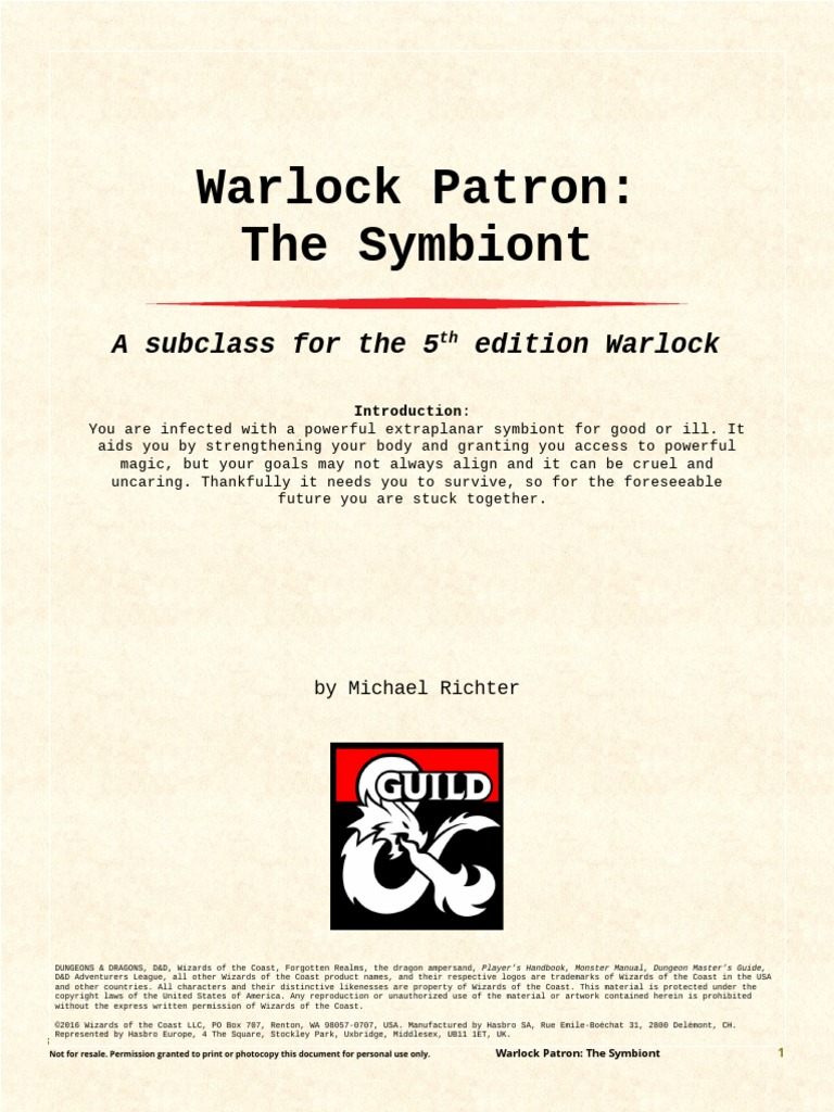 Warlock Patron the Symbiont (5e) | Wizards Of The Coast | Dungeons