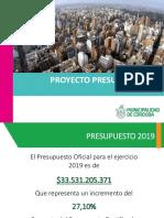 Presentación Presupuesto 2019 Municipalidad de Córdoba