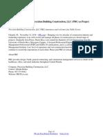 Luis Pablo Torres Joins Precision Building Construction, LLC (PBC) as Project Manager