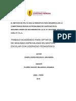 El Método de Polya Una Alternativa Para Desarrollar La Competencia Resuelve Problemas de Cantidad en El Segundo Grado de Secundaria de La i