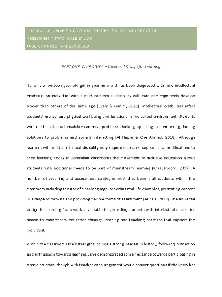 cunningham assessment 2 case study | Learning | Inclusion