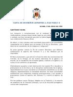 Carta de Monseñor Lefebvre a Juan Pablo II
