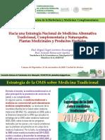 Estrategia Nacional de Medicinas Alternativas Tradicionales y Complementarias MAGD SYBA Noviembre 2018 Cámara de Diputados México