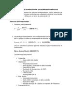 Cálculos Para La Selección de Una Subestación Eléctrica