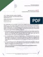 Oficio 307-A-4129 Comunicacion Del Manual de Programacion y Presupuesto 2019