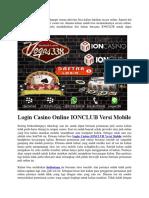 Login Casino Online IONCLUB Versi Mobile