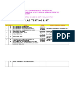 List of Lab Test