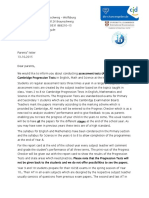 Parents Letter Update About Assessment Tests 2015