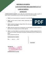 Affidavit Change of Engine & Loss of Logbook