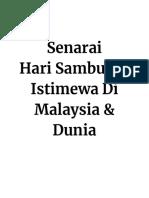 Senarai Hari Sambutan Istimewa Di Malaysia & Dunia