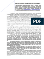 EFEITO DA PROPORÇÃO DO SAL DE COZINHA NA COCÇÃO DE ARROZ