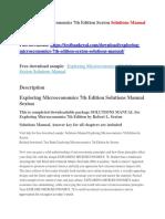 Exploring Microeconomics 7th Edition Sexton Solutions Manual