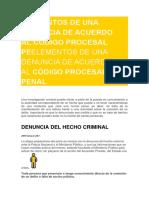 Elementos de Una Denuncia de Acuerdo Al Codigo Procesal Penal