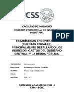 Estadísticas Encontradas (Cuentas Fiscales), Principalmente Detallando Los Ingresos, Gastos Del Gobierno Central, y La Deuda Pública.