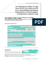 Dilution and Redistribution Effects of Rapid 2 Litre Infusions of 0.9 Saline and 5 Dextrose on Haematological Parameters and Serum Biochemistry in Normal Subjects a Double Blind Crossover Study Lobo Clin Sci 2001
