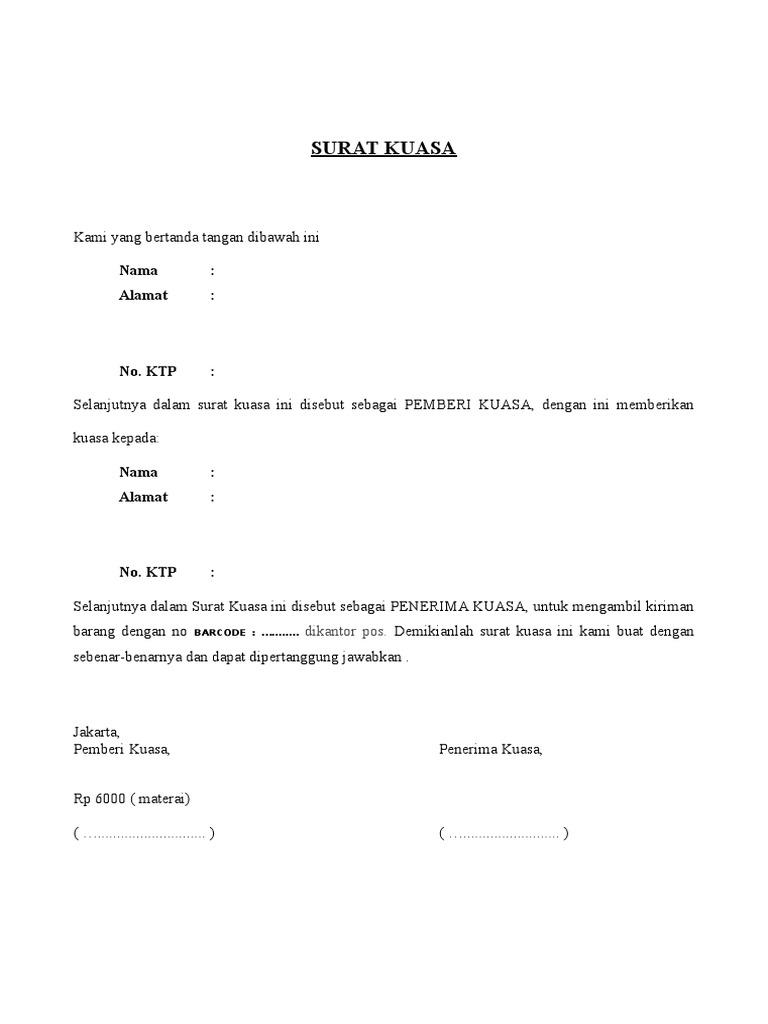 Contoh Surat Kuasa Pengambilan Dokumen Di Kantor Pos